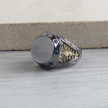 Rodajlı Telkari İşleme Erkek Gümüş Yüzük