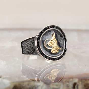 Osmanlı Tuğralı Mineli Erkek Gümüş Yüzük