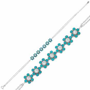 Gümüş Mavi Kırçiçeği Bileklik