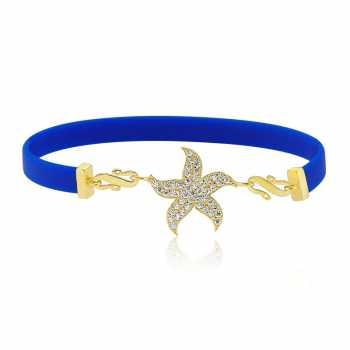Lacivert Kauçuk Gümüş Deniz Yıldızı Bileklik