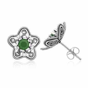 Gümüş Nilüfer Çiçeği Bayan Küpe