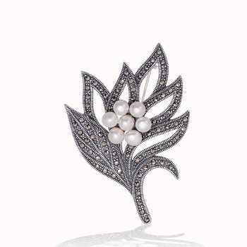 Gümüş Markazit Taşlı Yaprak İnci Broş