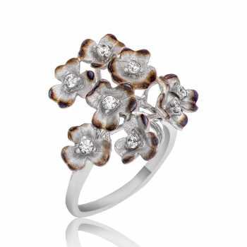 Gümüş Anemon Çiçeği Yüzük