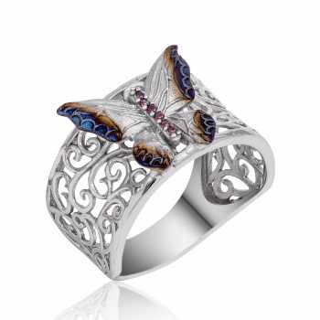 Gümüş Desenli Kelebek Yüzük