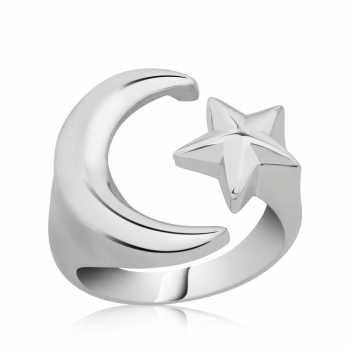 Gümüş Ayarlanabilir Ay Yıldız Bayan Yüzük