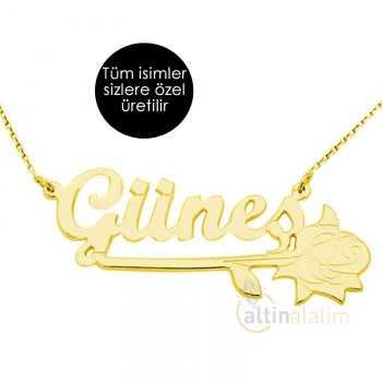 Gül Figürlü İsimli Altın Kolye - d8i00024
