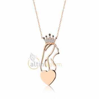 Kraliçe Kalpli Gümüş Kolye dgumk0046