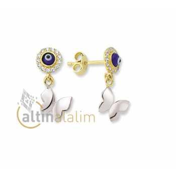 Nazar Kelebekli Altın Küpe -14 Ayar- kk04050