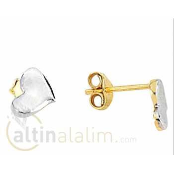 Beyaz Kalpli Altın Küpe -14 Ayar- kk04017