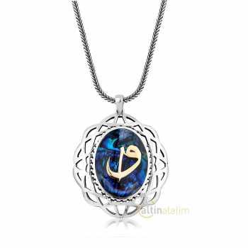 Elif Vav Desenli Gümüş Kolye