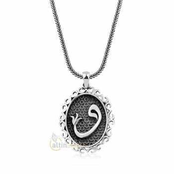 Elif  Vav Motifli Gümüş Kolye