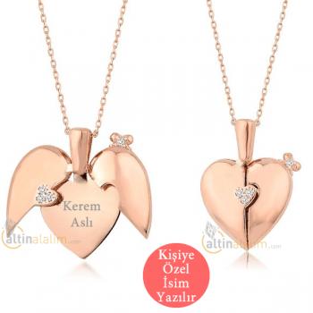 Kalbimdeki Sır Rose Taşlı Kalp Kolye - gumk0201 (Kişiye Özel Tasarım Yapılır)