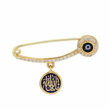 Allah Yazılı Mavi Altın İğne - nzb02782