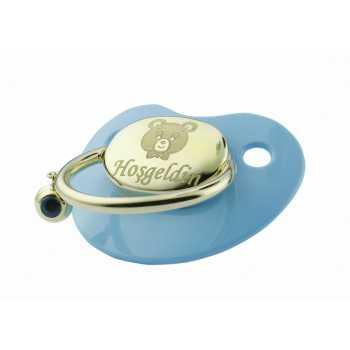 Ayıcık Figürlü Altın Emzik-Mavi - nzb02720
