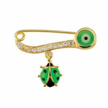 Yeşil Uğur Böceği Çengelli İğne - nzb02770