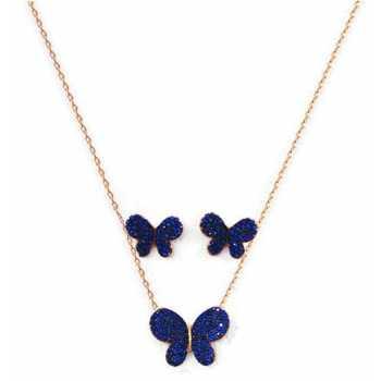 925 Ayar Gümüş Mavi Taşlı Kelebek Küpe Set
