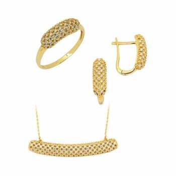 Plaka Taşlı Altın Set