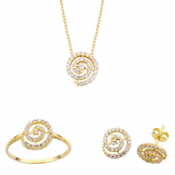 Spiral Taşlı Altın Mini Set