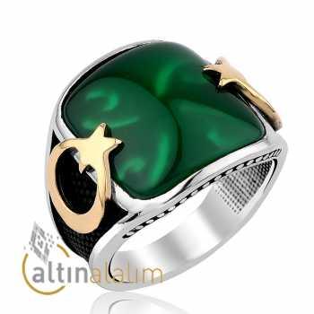 Ay Yıldız Kare Yeşil Taşlı Yüzük - gum00235