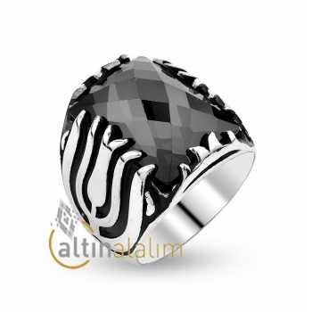 Siyah Yakut  Erkek Gümüş Yüzük -gum00047