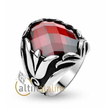Kırmızı Yakut  Erkek Gümüş Yüzük -gum00048