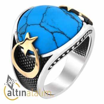 Firuze Taşlı Ay Yıldız Gümüş Yüzük -gum00158