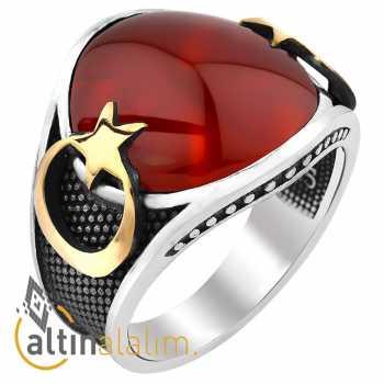 Kırmızı Taşlı Ay Yıldız Gümüş Yüzük -gum00159