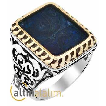 Mavi Mineli Gümüş Yüzük - gum00115