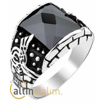 Tuğralı Siyah Taşlı Gümüş Yüzük - gum00120