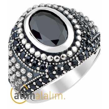 Zirkon Taşlı Oniks Gümüş Yüzük - gum00138