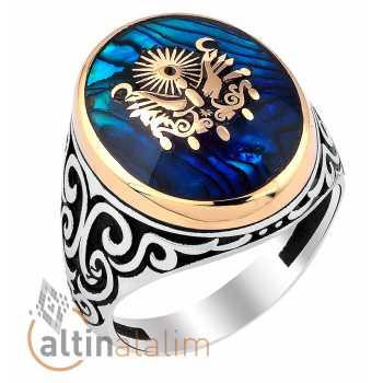 Mineli Osmanlı Armalı Gümüş Yüzük -gum01114