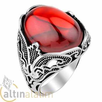 Kırmızı Taşlı Gümüş Yüzük - gum01153