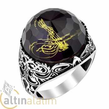 Fosforlu Osmanlı Tuğralı Gümüş Yüzük - gum01159