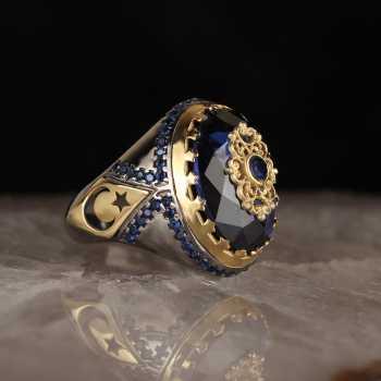 Zirkon Taşlı Ayyıldızlı Rodaj Kaplama Gümüş Yüzük