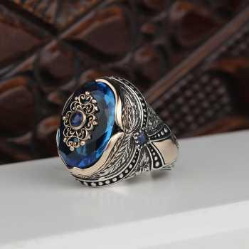 Aqua Taşlı Gümüş Erkek Yüzük - tevi00744