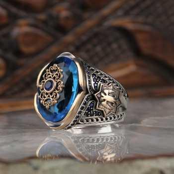 Aqua Taşlı Tuğralı Gümüş Erkek Yüzük - tevi00745