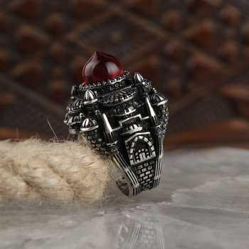 Cami Model Kehribar Taşlı Gümüş Erkek Yüzük - tevi00752
