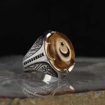 Ayyıldızlı Kehribar Taşlı 925 Ayar Gümüş Yüzük - tevi00759