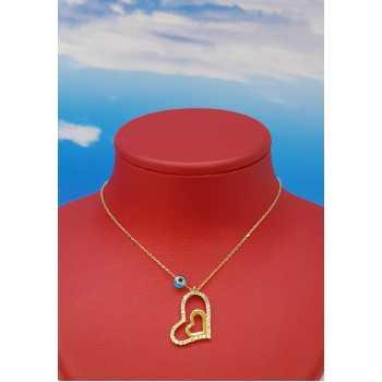 Çift Kalp Altın Kolye - d8k00074