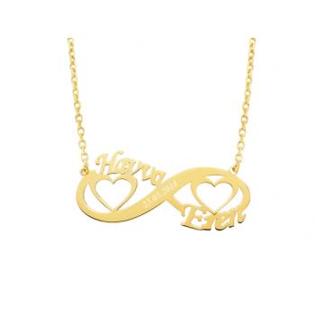 İki İsimli Sonsuzluk Kalpli Altın Kolye- d8i00038