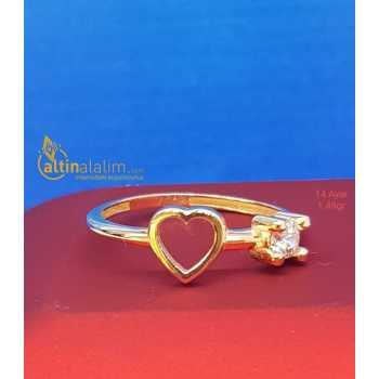 Kalpli Tektaş Altın Yüzük - d4y00090